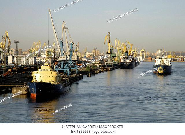 Ships, containers, port, St. Petersburg, Russia, Eurasia