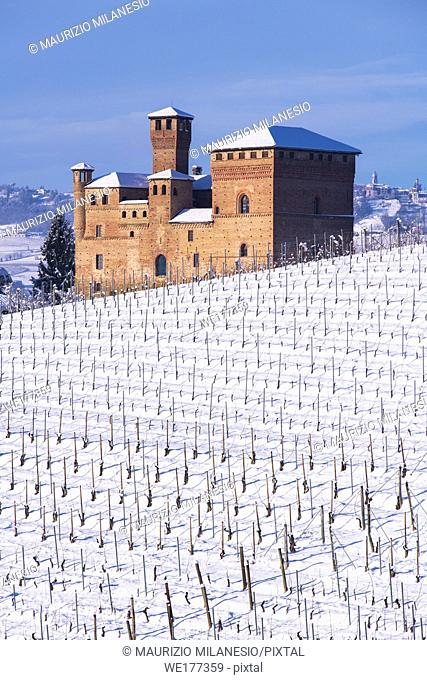 Grinzane Cavour, Piedmont, Italy View on the Castle, Unesco territory, and a snowy vineyard, the sky is blue