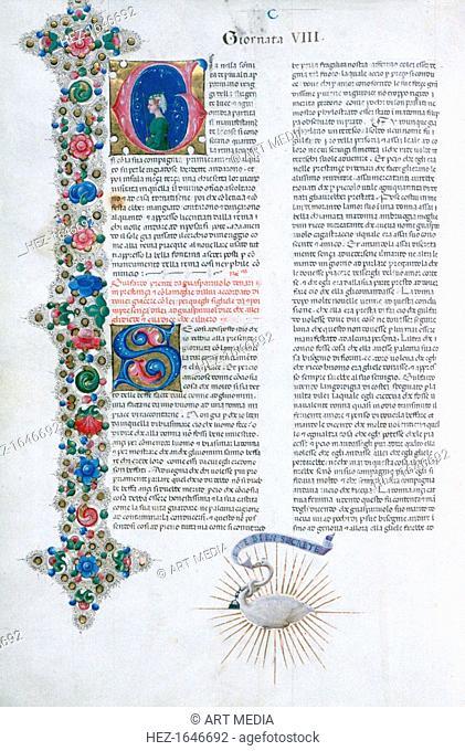 Illuminated manuscript page from Decameron, by Giovanni Boccaccio, Italian, c1467. Illuminated by Taddeo Crivelli for Teofilo Calcagnini. Giornata 8