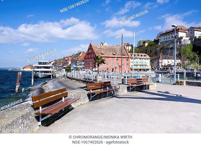 Promenade and Gredhaus building, Meersburg, Lake Constance, Baden-Wuerttemberg, Germany, Europe