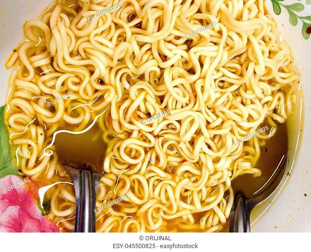 close up of instant noodles cooked ready to eat in bowl