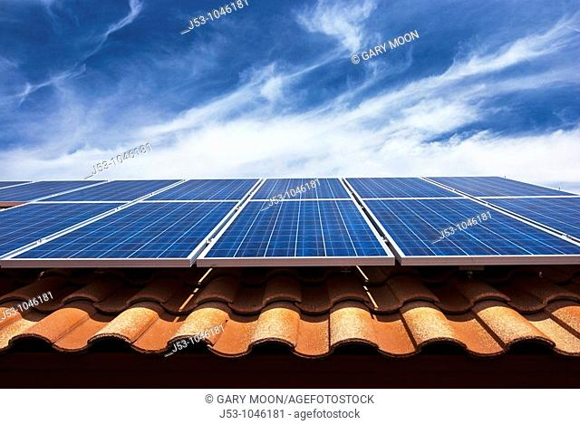 Solar PV collector on tile roof, Phoenix Arizona USA