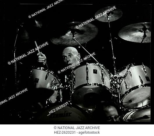 Drummer Eric Delaney playing at the Forum Theatre, Hatfield, Hertfordshire, 6 May 1983. Artist: Denis Williams
