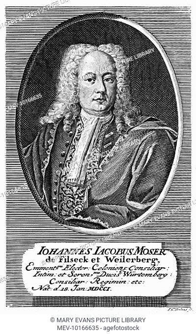 JOHANN JACOB MOSER German jurist in the service of the herzog von Wurtemberg
