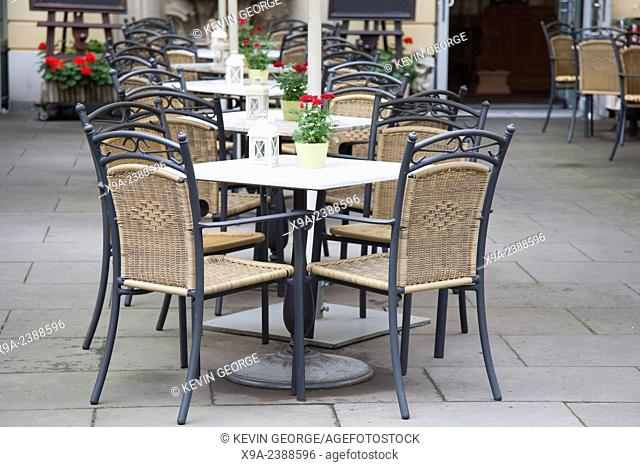 Cafe Table and Chairs in Open Air