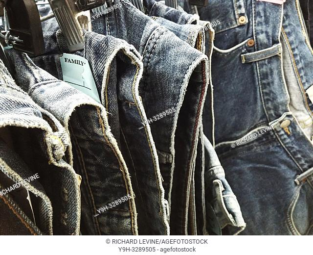A rack of denim jeans in a second hand store in New York on Thursday, January 3, 2019. Sales of denim are reported to be picking up as consumers depart from the...