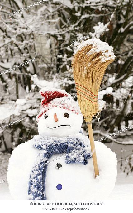 Snowman standing in a garden during snowfall