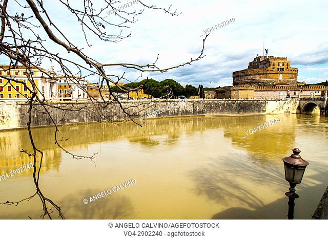 The Tiber River passing under Ponte di Castel Sant'Angelo, View of Castel Sant'Angelo, Rome, Italy, Europe