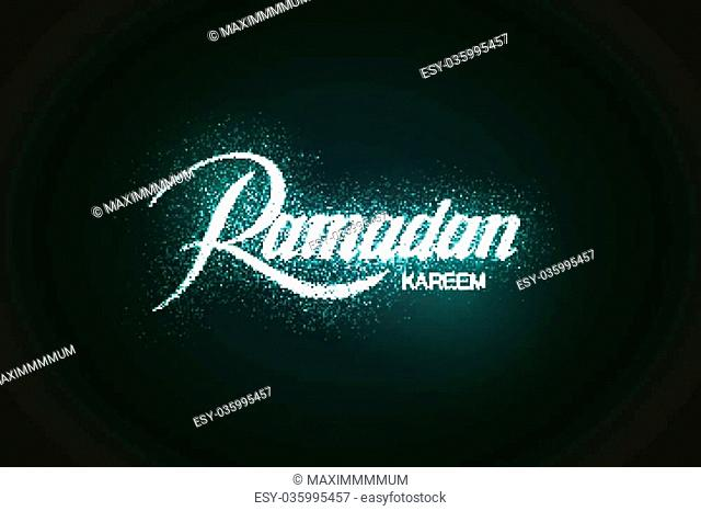 Ramadan Kareem. Vector holiday illustration of shiny Ramadan Kareem label. Lettering composition of muslim holy month with sparkles and stars