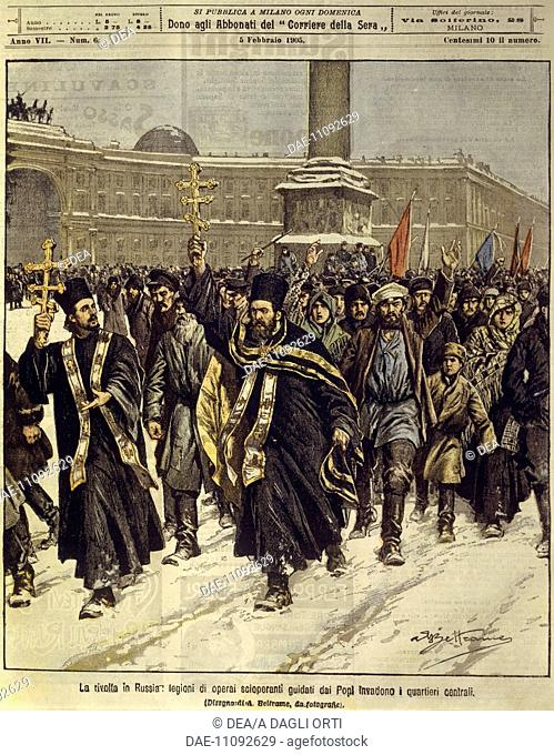 Russian Empire, 20th century - Russian revolution, striking workers invade the centre of Saint Petersburg. Cover illustration from La Domenica del Corriere