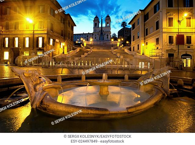 Spanish Steps and fountain in Rome, Italy