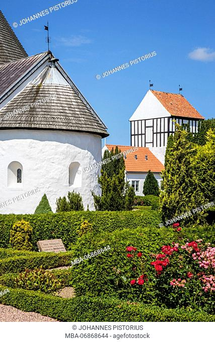 Cemetery, apse and bell tower of Ny Kirke (12th century), Europe, Denmark, Bornholm, Nyker