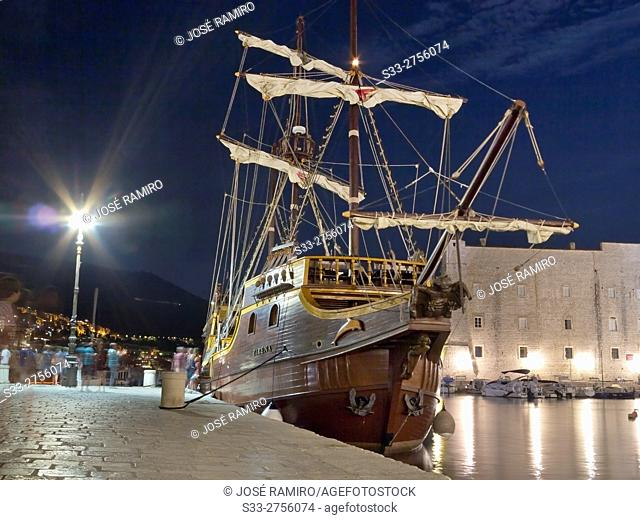 Sailing in the Old Port of Dubrovnik. Croatia. Europe