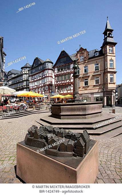 Copper model of the marketplace, market square with restaurants, old town of Marburg, Hesse, Germany, Europe