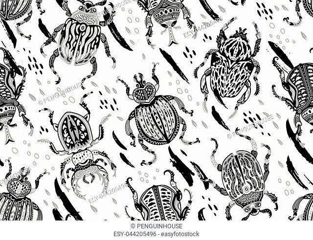 WInter foxes seamless pattern in scandinavian style. Vector illustration