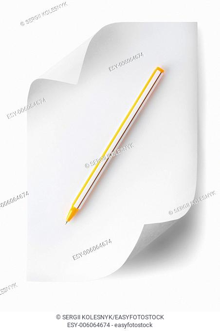 Pen with a sheet of paper isolated on white background. Clipping path