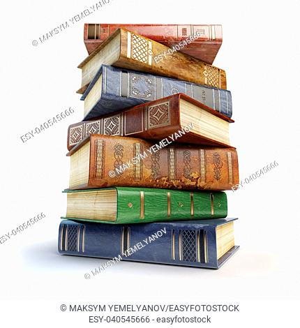 Old books. Stack of vintage books isolated on white. 3d illustration
