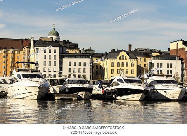 Boats in the Old Port in Helsinki, Finland