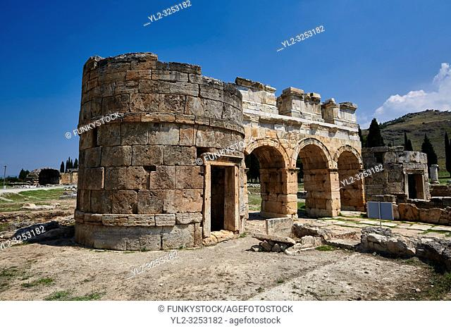 Picture of the Roman North Gate built by Domitian. Hierapolis archaeological site near Pamukkale in Turkey