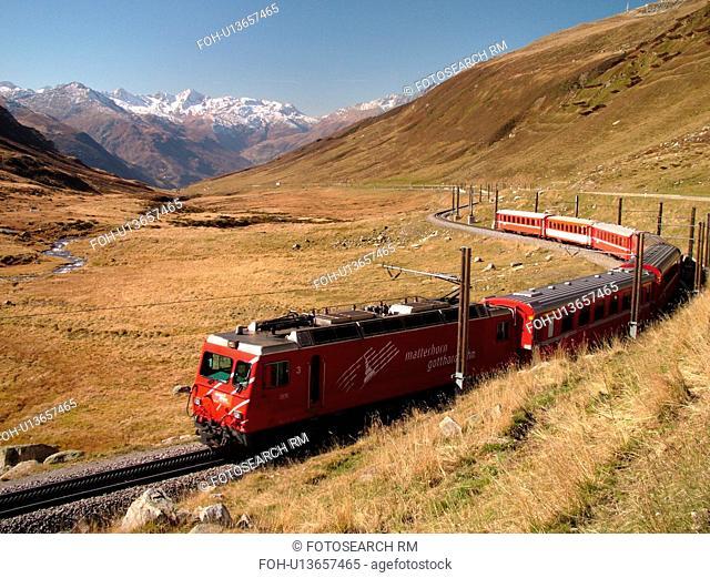 Switzerland, Europe, Uri, Oberalp Pass, Oberalppass, Matterhorn-Gotthard-Bahn, The Glacier Express train