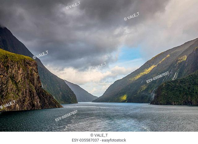 Fiordland National Park Scenic after heavy rain - Park occupies the southwest corner of the South Island of New Zealand