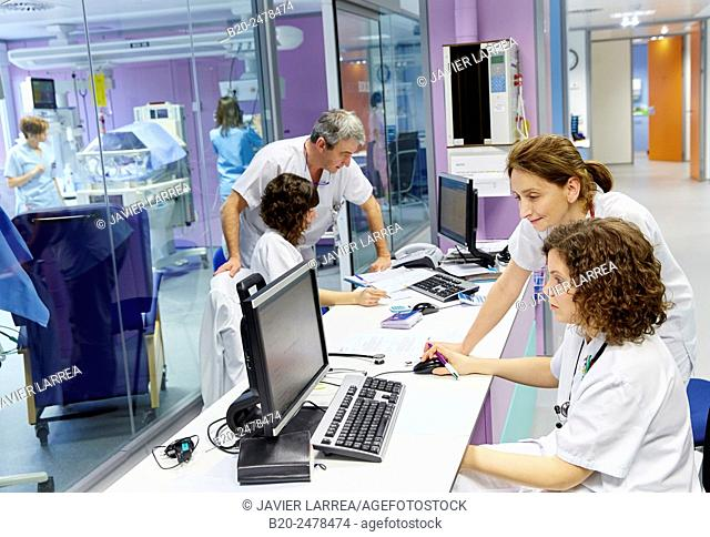 Nurses and doctors at work in neonatal intensive care unit, Hospital Donostia, San Sebastian, Basque Country, Spain