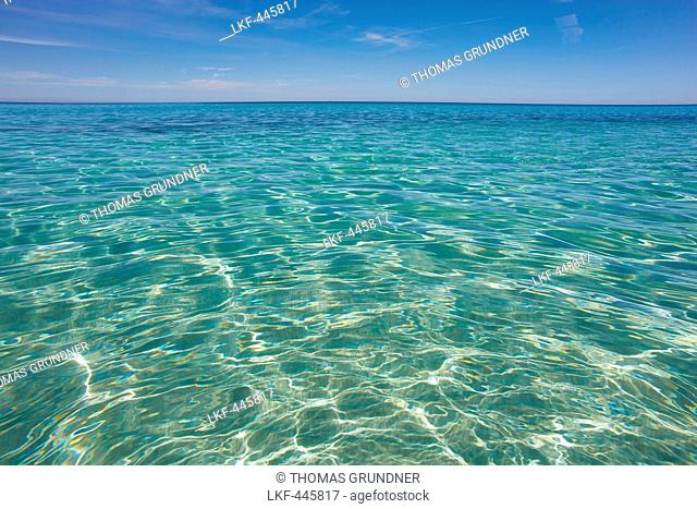 Clear water along the Mediterranean coast, Desert des Agriates, Corsica, France