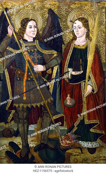'St Michael and Engracia', c1489-c1513. St Michael the Archangel stands on the devil. In his right hand he holds the scales which weigh the souls of men