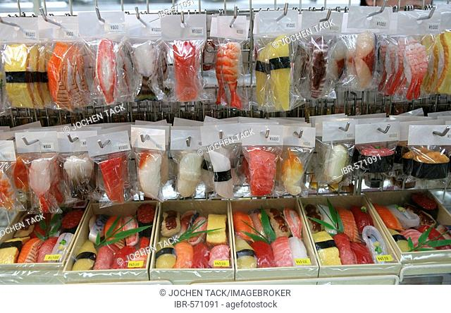 Japan, Tokyo: Shop for plastic food models. Restaurants show their meals as plastic models to their guest, a kind of 3-D realistic food menue