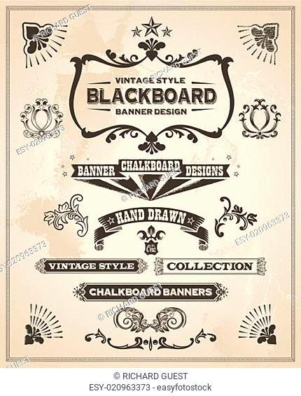 Vintage retro hand drawn banner set