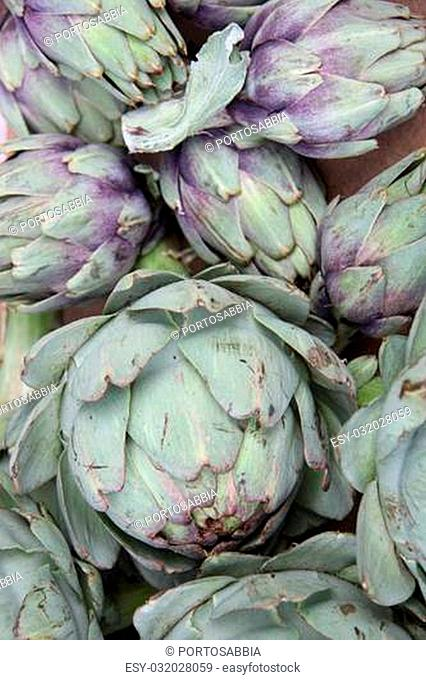 Fresh green artichokes at a Provencal market in France