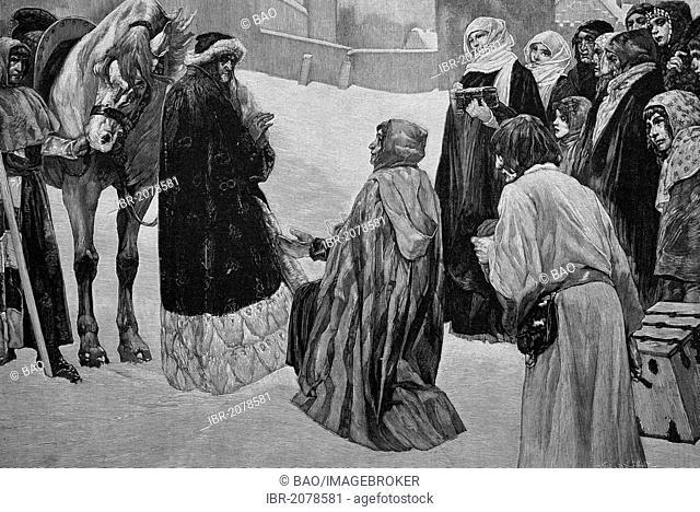 Christmas in Vienna, Austria, 1227, woodcut, historical engraving, 1882