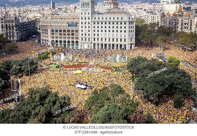 Political demonstration for the independence of Catalonia. Catalunya square.October 19, 2014. Barcelona. Catalonia. Spain