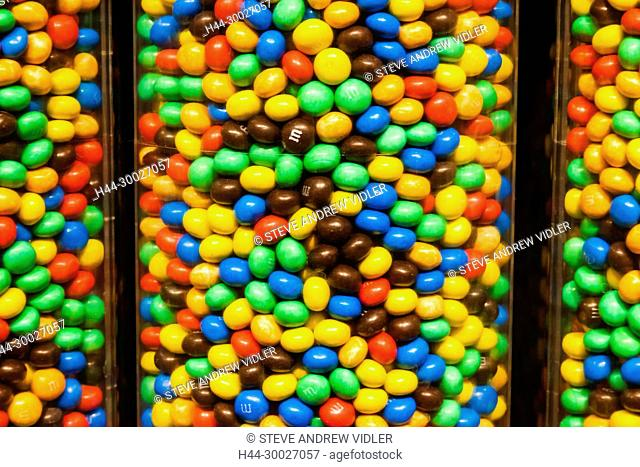 England, London, Leicester Square, M&M Store, Store Display of M&Ms