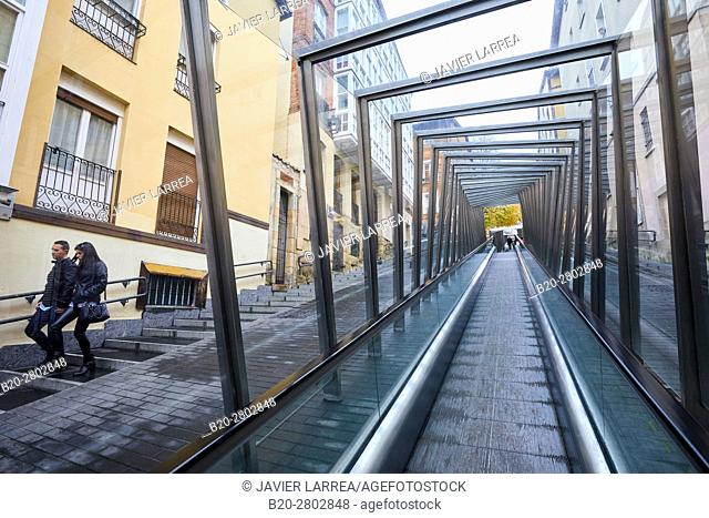 Moving walkway connecting old town with the city, Vitoria-Gasteiz, Araba, Basque Country, Spain, Europe