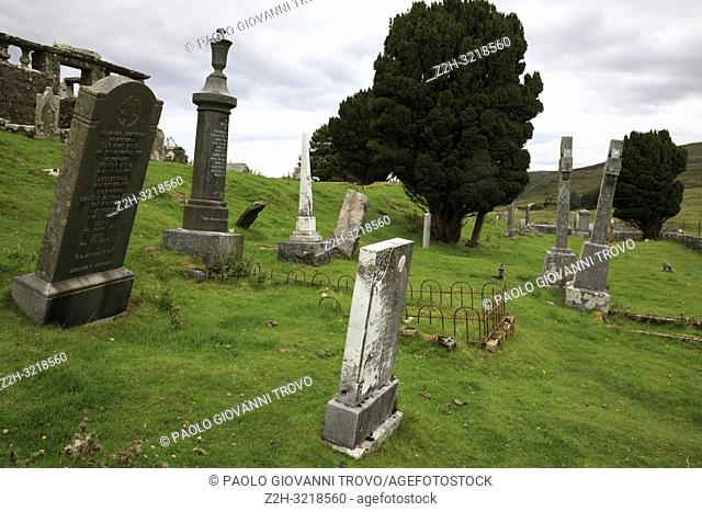 Gravestones in the graveyard of Cill Chriosd / Kilchrist Church on the Isle of Skye, Inner Hebrides, Scotland, United Kingdom