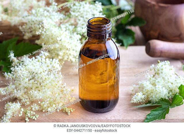 Homemade meadowsweet tincture with fresh blooming plant