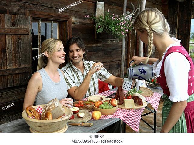 Couple, break, snack, cottage