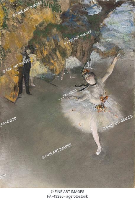 Ballet (L'Étoile) by Degas, Edgar (1834-1917)/Pastel over monotype/Impressionism/c. 1876/France/Musée d'Orsay, Paris/58,4x42/Music, Dance,Opera, Ballet, Theatre