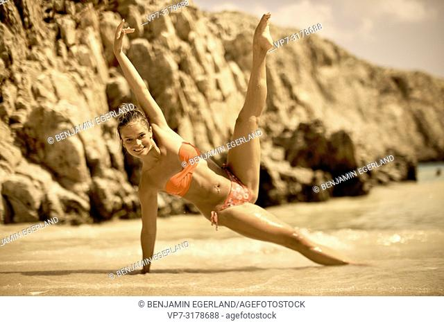 woman at Seitan Limania Beach, Crete, Greece