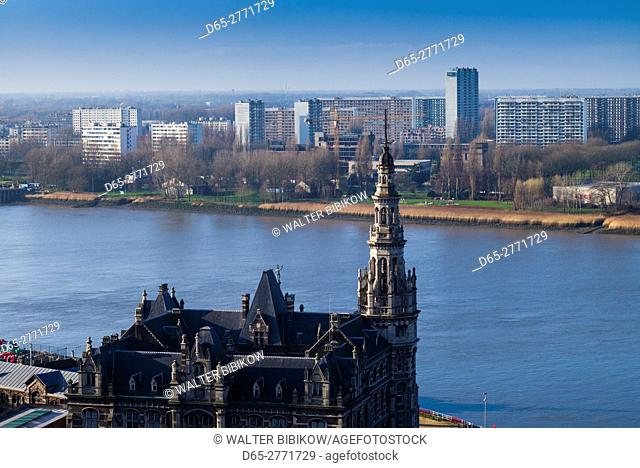Belgium, Antwerp, elevated view of the harbor pilots building