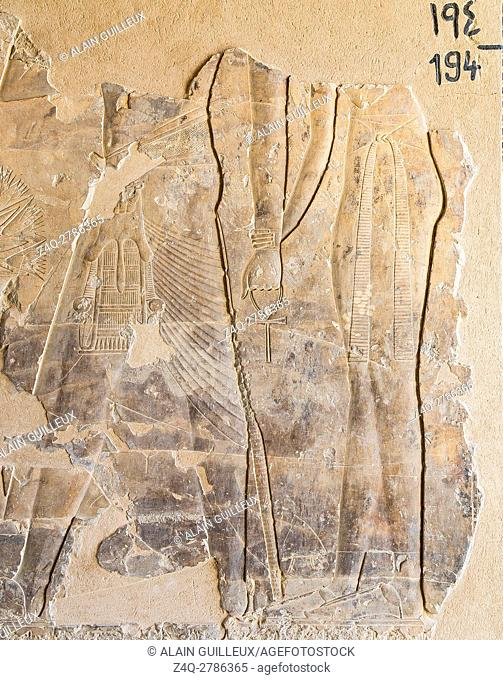 UNESCO World Heritage, Thebes in Egypt, Assassif (part of the Valley of the Nobles), tomb of Kheruef, a king followed by a woman