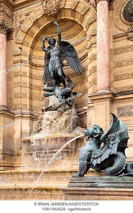 Fontaine Saint Michel, built by Gabriel Davioud 1860 in the Latin Quater near River Seine, Paris France
