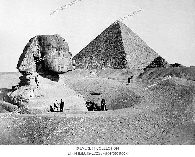 The Great Sphinx with the Pyramid of Pharaoh Cheops in the background. 1877 photo by French photographer Henri Bechard