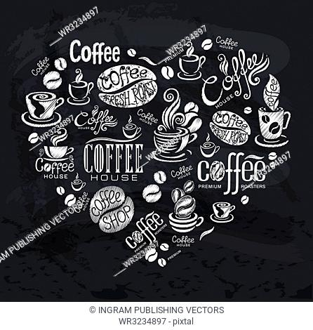 Coffee labels. Design elements on the chalkboard