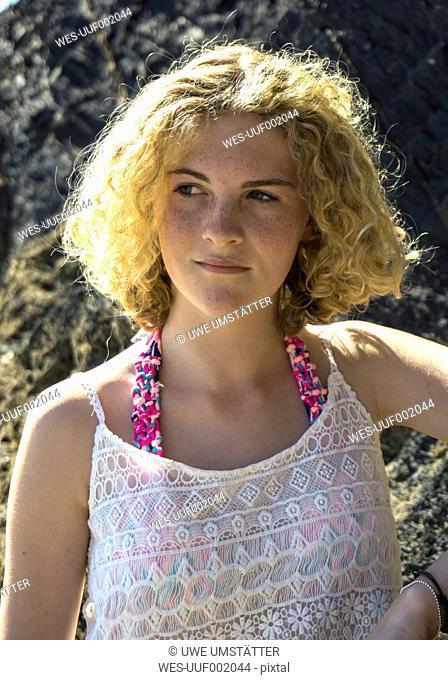 Portrait of teenage girl on the beach