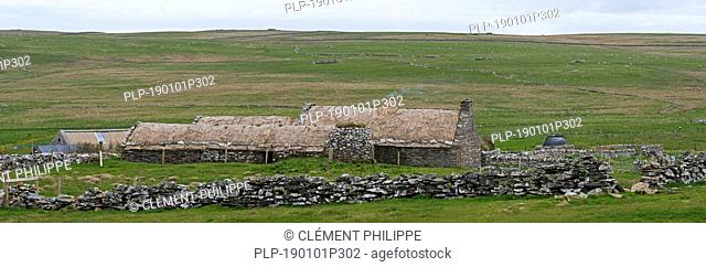 Croft House Museum / Crofthouse Museum, restored straw-thatched cottage at Boddam, Shetland Islands, Scotland, UK