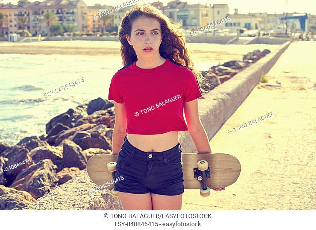 Roller Skate girl in a beach dock with red t-shirt