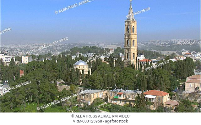 Aerial footage of the church of Ascension on mount of Olives in eastern Jerusalem