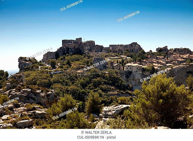 View of walled medieval town and castle, Les Baux-de-Provence, Provence-Alpes-Côte d'Azur, France